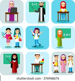 Arabic pupil and teacher in national clothes in flat style.  Vector colorful illustration of arab school children, teachers in national clothes