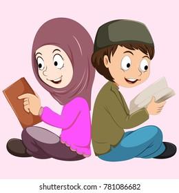 Arabic pupil. Vector colorful illustration of arab school children.