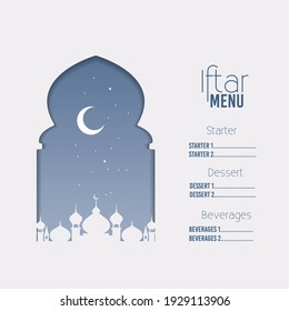 Arabic restaurant menu. Ramadan greeting card. Iftar Party Vector
