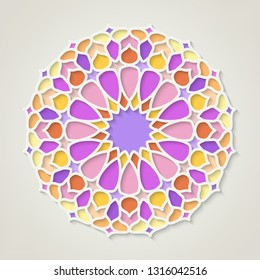 Arabic round colorful pattern, traditional eastern ornament, EPS 10 coctains transparency.