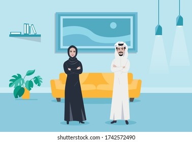 Arabic saudi man and women family Characters business Moslem people in traditional clothing vector illustration.