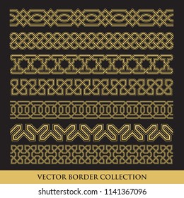 Arabic Seamless geometric golden Border with black background, Traditional Islamic Design Collection,  Mosque decoration element pattern