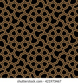 Arabic Seamless Pattern. Traditional Islamic Design Background. Ocher on black.