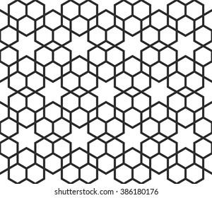 Arabic star texture, monochrome islamic pattern, hexagons background