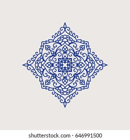 Arabic style decorative lace element Vector illustration