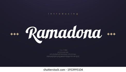 Arabic style font alphabet letters. Elegant arabian classic lettering. Typography modern serif fonts decorative asian design concept. vector illustration - Shutterstock ID 1953995104