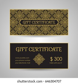 Arabic style gift certificate template. Vector illustration