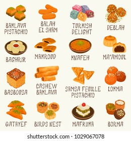 Arabic sweets vector set