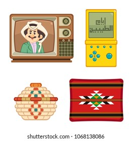Arabic text : the good old days , traditional heritage icons in Arab gulf countries ( United Arab Emirates UAE  Saudi Arabia ksa  Bahrain  Kuwait Qatar and Oman )   isolated vector