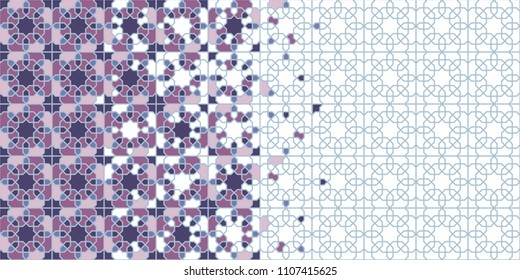 Arabic tile vector pattern. Geometric halftone texture with colorful arabesque disintegration