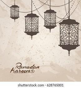 Arabic traditional lantern and garland on vintage paper texture. Card, invitation for muslim month Ramadan Kareem. Festive vector illustration.