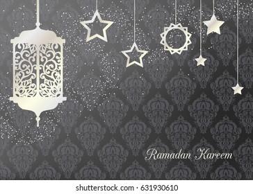 Arabic traditional pearl lantern and stars. Card, invitation for muslim month Ramadan Kareem. Festive vector illustration, background.