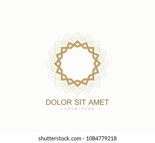 Arabic vector logo design template style. Abstract Islamic symbol. Emblem for luxury products, boutiques, jewelry, oriental cosmetics, hotels, restaurants, shops and stores
