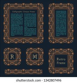 Arabic vector set of frames and lines of art design template. Muslim gold outline elements and emblems. Eastern floral frame. Logos line pattern for menu, postcard, restaurant, wedding invitation