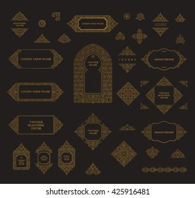 Arabic vector set of frames and lines of art design template. Muslim gold outline elements and emblems. Eastern floral frame. Logos line pattern for menu, mosque, arch, restaurant, wedding invitation