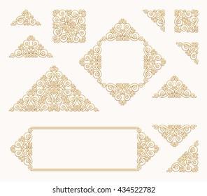 Arabic vector set of frames and lines gold design template. Muslim outline elements and emblems. Eastern floral frame. Logos line pattern for menu, restaurant, wedding invitation