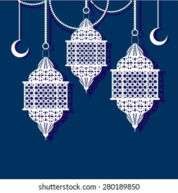 Arabic white  lanterns and moons