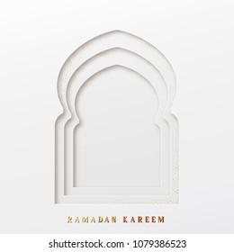Arabic window design. Ramadan Kareem greeting card.