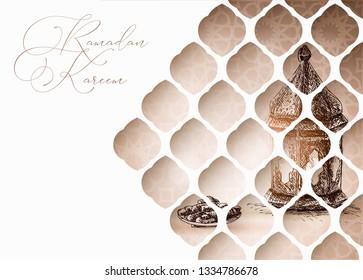 Arabic window. Hand drawn illustration of Moroccan lantern and plate with date fruit. Iftar dinner. Artistic vector illustration. Greeting card, invitation for Muslim holiday Ramadan Kareem. Vector.