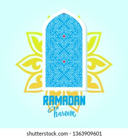 Arabic window. Ramadan Kareem greeting card. Vector design