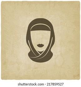 Arabic woman avatar old background - vector illustration. eps 10