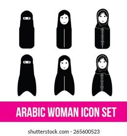 Arabic Woman Icon Set, Islamic, khaliji, Gulf