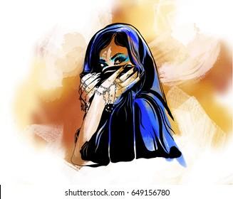 Arabic woman portrait on watercolor background.