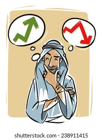 Arabic young man thinking about trading course