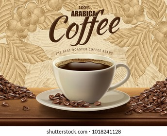 Arabica coffee ads with a cup of beverage and beans in 3d illustration with retro ingredient plants and field scenery in etching shading style