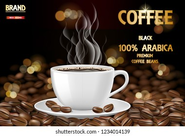 Arabica coffee cup with smoke and beans ads. 3d illustration of hot arabica coffee mug. Product package design background. Vector