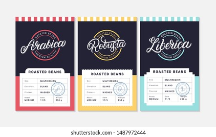Arabica, Robusta, Liberica coffee beans packaging label design template. Hand written lettering. Vintage retro old school style. Vector illustration.
