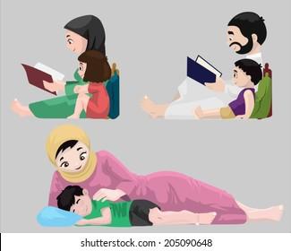 Arabs- Bedtime Stories-vector