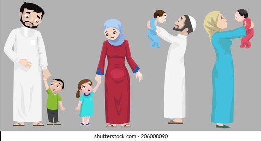 Arabs- Hanging Out With Children-vector