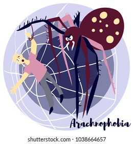 Arachnophobia vector illustration with violet colors. Picture is about the most common phobia. Arachnophobia is the irrational fear of spiders and other arachnids such as scorpions.