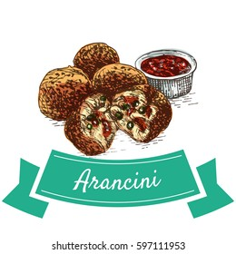 Arancini  colorful illustration. Vector illustration of Italian cuisine.