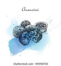 Arancini watercolor effect illustration. Vector illustration of Italian cuisine.