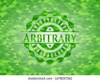 Arbitrary green emblem with mosaic background. Vector Illustration. Detailed.