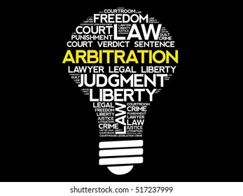 Arbitration bulb word cloud collage, concept background