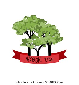 Arbor day design with red ribbon. Vector illustration