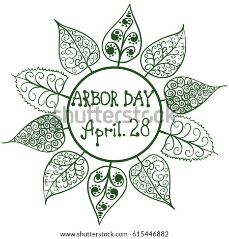 Arbor Day Frame Handdraw Contours Patterned Stock Vector (Royalty ...