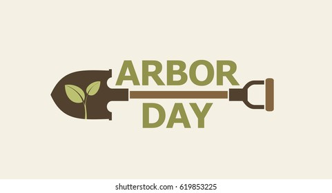 Arbor day. Icon. Logo. Poster. Vector illustration.