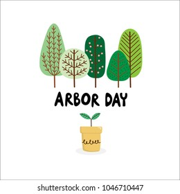Arbor Day. Plant and tree vector.