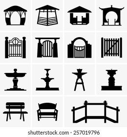 Arbors, gates, fountains, benches