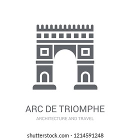 Arc de triomphe icon. Trendy Arc de triomphe logo concept on white background from Architecture and Travel collection. Suitable for use on web apps, mobile apps and print media.