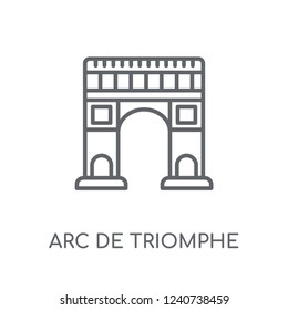 Arc de triomphe linear icon. Modern outline Arc de triomphe logo concept on white background from Architecture and Travel collection. Suitable for use on web apps, mobile apps and print media.