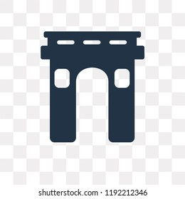 Arc de triomphe vector icon isolated on transparent background, Arc de triomphe transparency concept can be used web and mobile