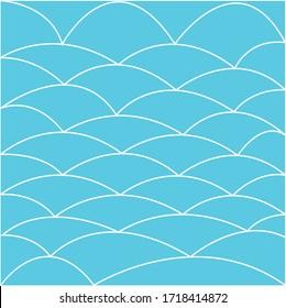 Arc line pattern vector. Design dune or scale white on blue. Design print for illustration, wallpaper, texture, textile, background.