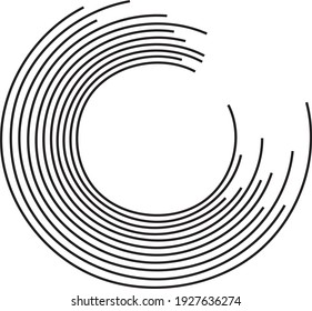 Arc shape black lines - Editable vector