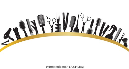 Arc from silhouettes of tools for the hairdresser. Vector illustration.