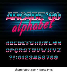 Arcade 80's retro alphabet font. Metallic effect shiny oblique letters and numbers. Vector typography for your design.
